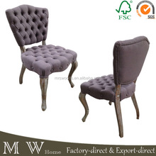 french country linen fabric upholstered button tufted dining chairs