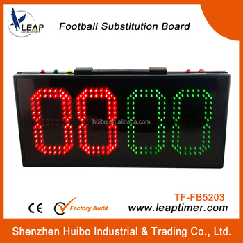 two-side substitution board in red and green football scoreboard