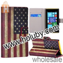 Retro US Flag Pattern Wallet Style Side Flip Stand Full Body Leather Cover Case for Nokia Lumia 520/525 with Card Slots Holder