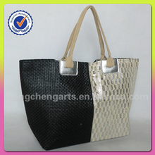 Lady splicing bag paper straw material handbags