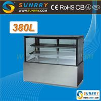 Hot sale full CE standard marble supermarket cake display chiller with 3 shelves