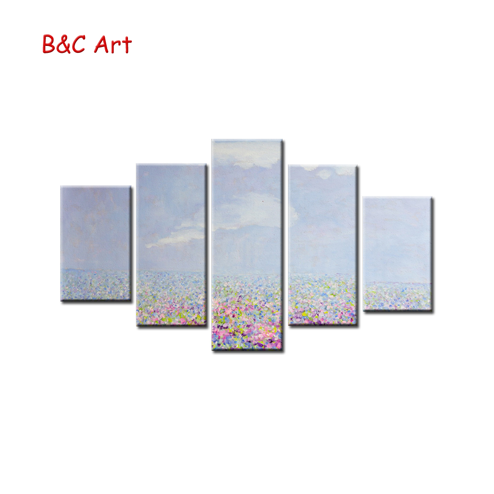 Impressive Flower Filed Multi-pieces Print Canvas Frame Painting for Decoration