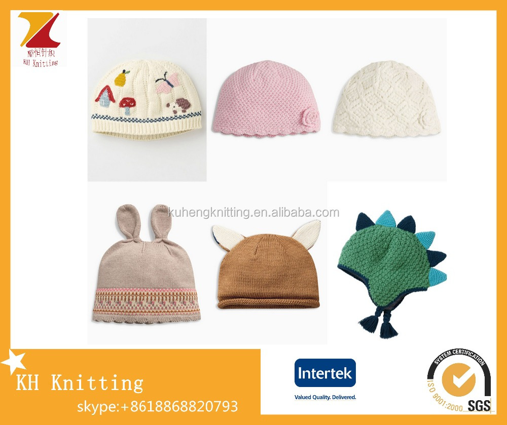Winter warm various knitted cotton hats for cute newborn baby