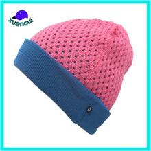 Cheap Knitting crochet cuffed women hat Winter Knitted Beanie Hat with mesh hole
