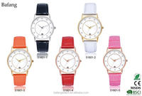 Best small wrist women watches oem brand watch with color leatehr strap