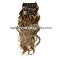 "Hot sale Fashion Lady Long Wavy 16""18"" 20"" Clip in Indian Human Remy Hair Extension"