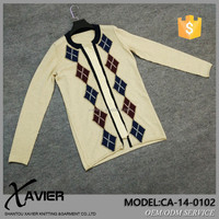 High-end thin knitted men cashmere sweater cardigan with diamond pattern applique and patch