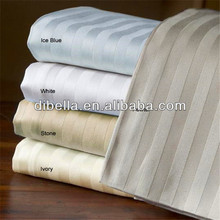 Hotel /home bedding bleached white /dyed cotton stripe fabric