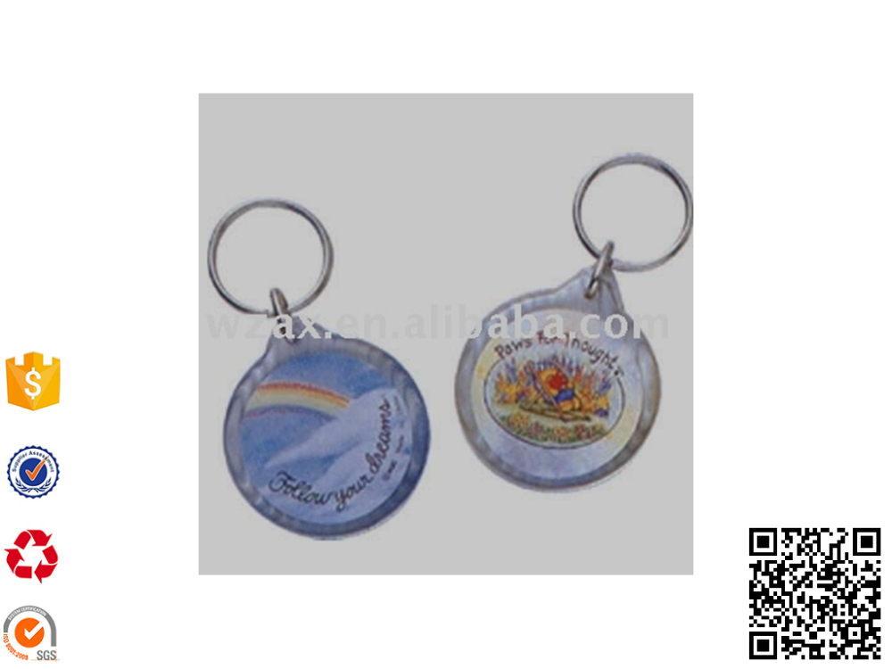 Round shape Acrylic keyring with photo