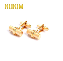 KMC089 Xukim Shirt Cufflinks Gold Sliver French Cufflink for men and Wholesale Cutom Logo Simple Cufflink