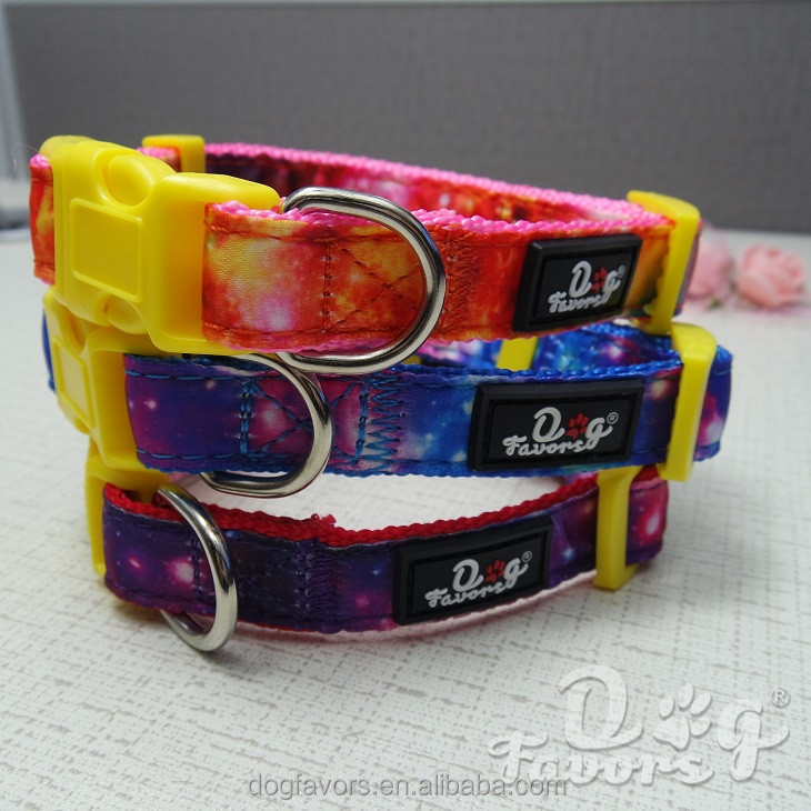 New Design Galaxy Imprinted Unique Plain Nylon Dog Collars For Small Animals