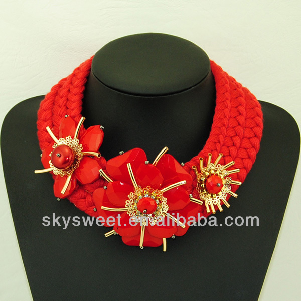 Hot sale wedding occasion thread braid red necklace