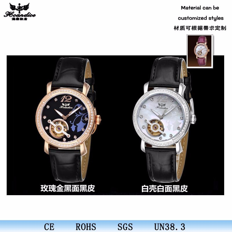 High Quality Simple Waterproof Leather Mechaincal Watch Ladies Crystal Alloy Case