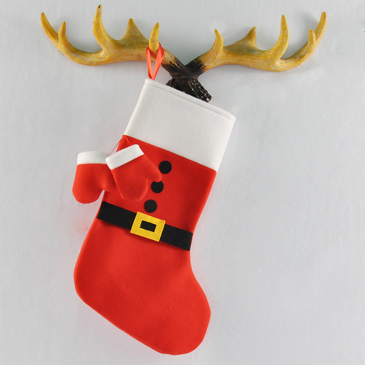 SJ111 Inexpensive Mini Gloves Hanging Tie Up Bandage Santa's Gifts Red Christmas Stocking