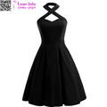 2017 Black Womens Vintage Cocktail Dress Rockabilly Pin-up Swing Skater dress L362051-2