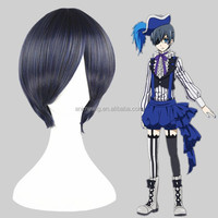 High Quality 35cm Short Straight Kuroshitsuji-Ciel Phantomhive Blue&Gray Synthetic Anime Wig Cosplay Costume Hair Wig Party Wig
