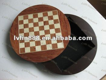Round Wooden Chess Game Box Round Chess Board Chess Set