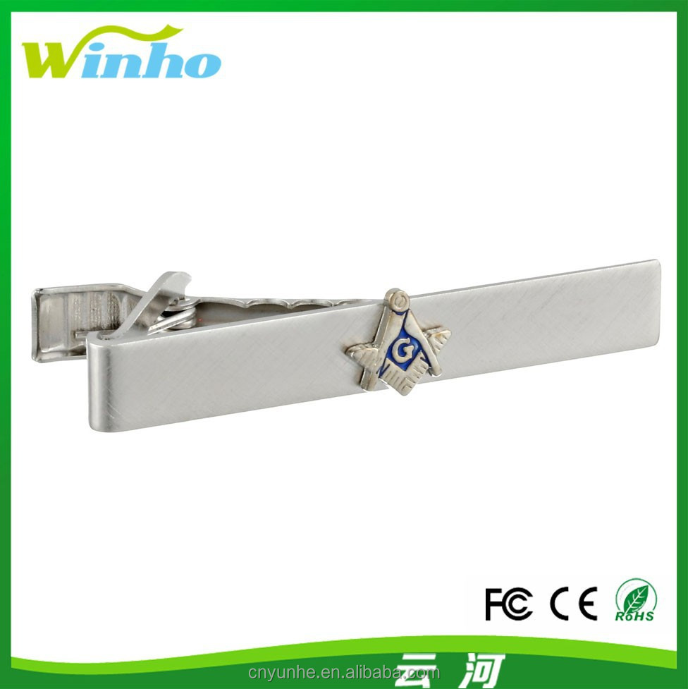 Winho metal tie clip with Masonic Trowel pattern