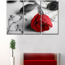 2018 New design 3 panel red rose canvas wall art home flower canvas painting for wall decoration without frame