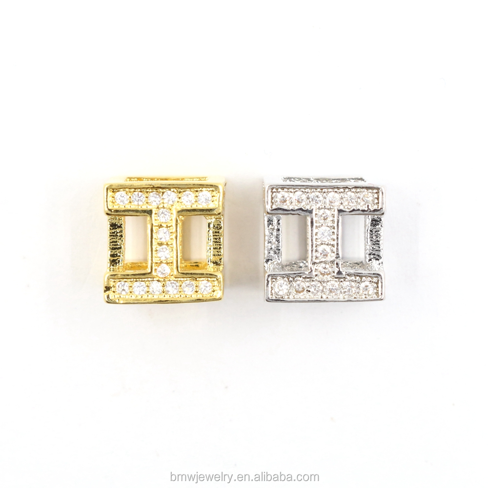 24k Gold Filled Micro Pave Beads Size 8mm Square with Clear CZ Cubic Zircon , sparkle Bling Spacer Beads For Jewelry Making