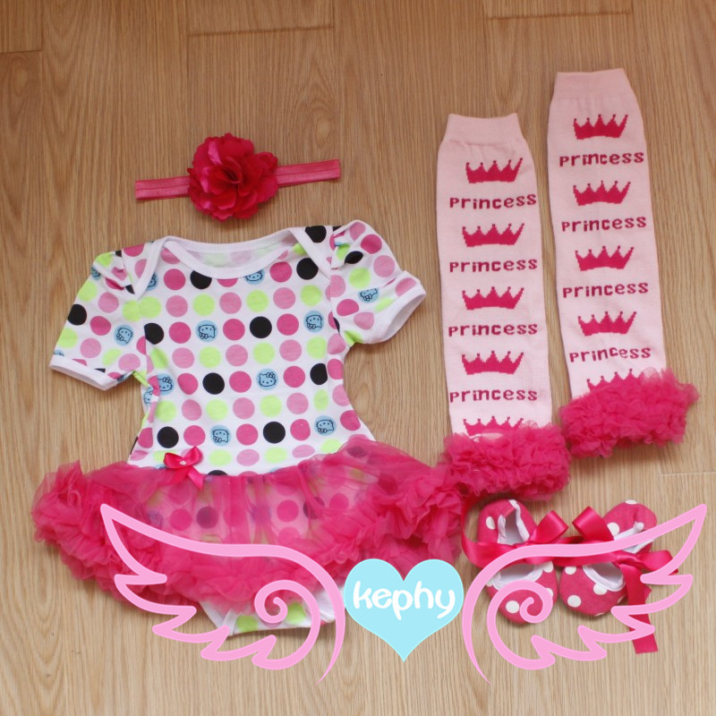 infant baby leopard rompers with short sleeves 4 pcs set Tutu leg warmer shoes headband ,newborn pettiskirt set girls rompers