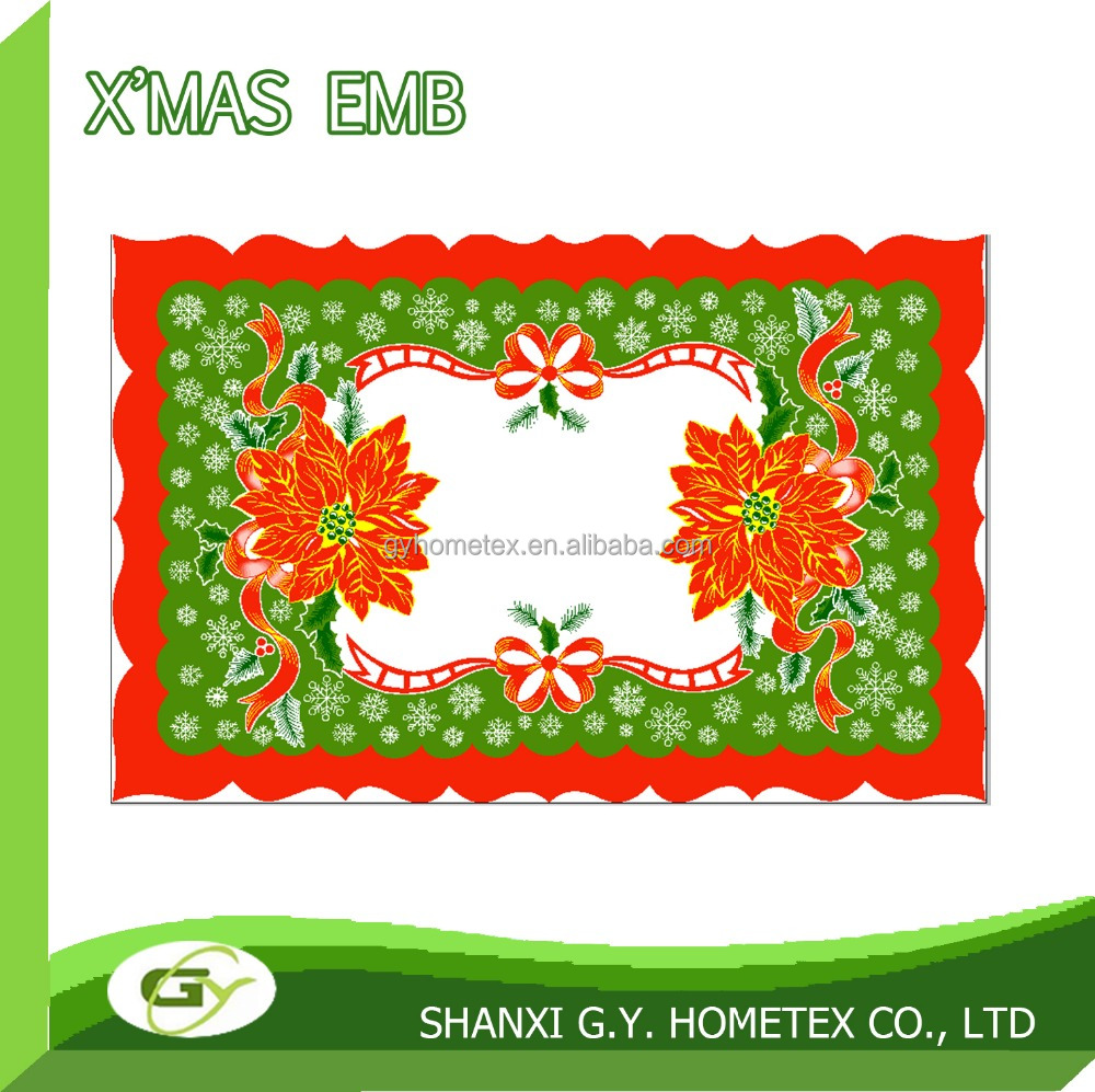 christmas felt printed printing polyester placemat, table topper