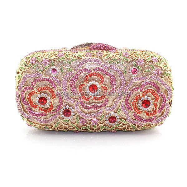 Fashion ladies austrian crystal flowers clutch evening bag SC2805