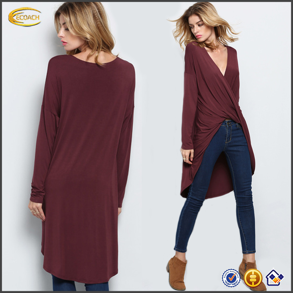 Ecoach Coffee Long Sleeve Unique Asymmetric latest fashion long top design ladies blouses and tops long tops