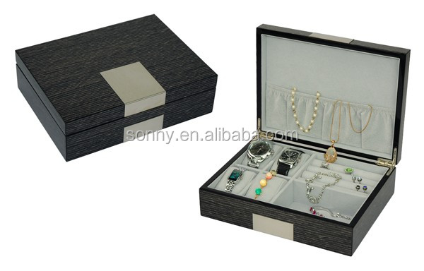 Glossy Lacquered Wenge Wood Watches Valet Box