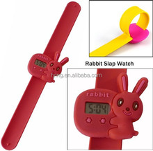 china cheap rabbit silicone slap band kid watch
