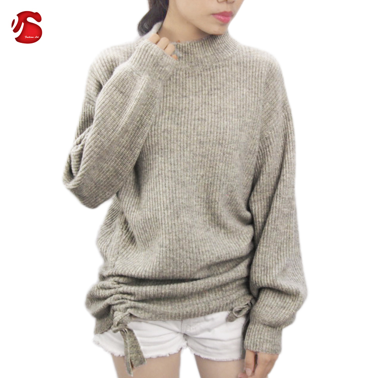 in stock Hot sale brand winter warm loosed fancy knit puff swell sleeve pullover women sweaters with side tie