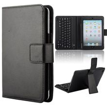 Lichee Pattern PU Leather Wireless Bluetooth Keyboard case for iPad Mini With Bracket