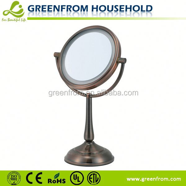 Oval Chinese characteristics double sided LED half moon table with mirror