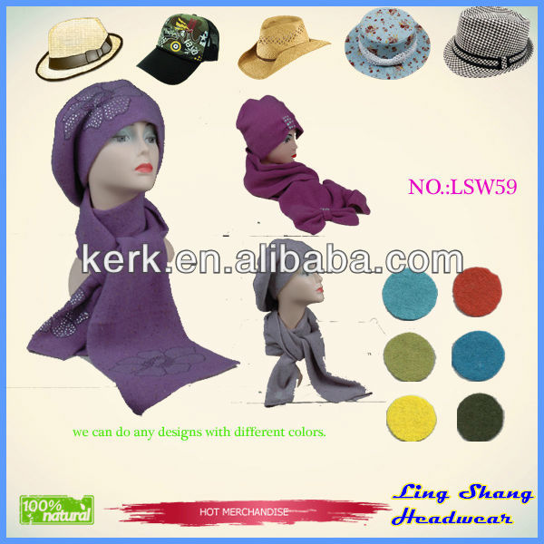 Custom design knitted winter hat and scarves set for women
