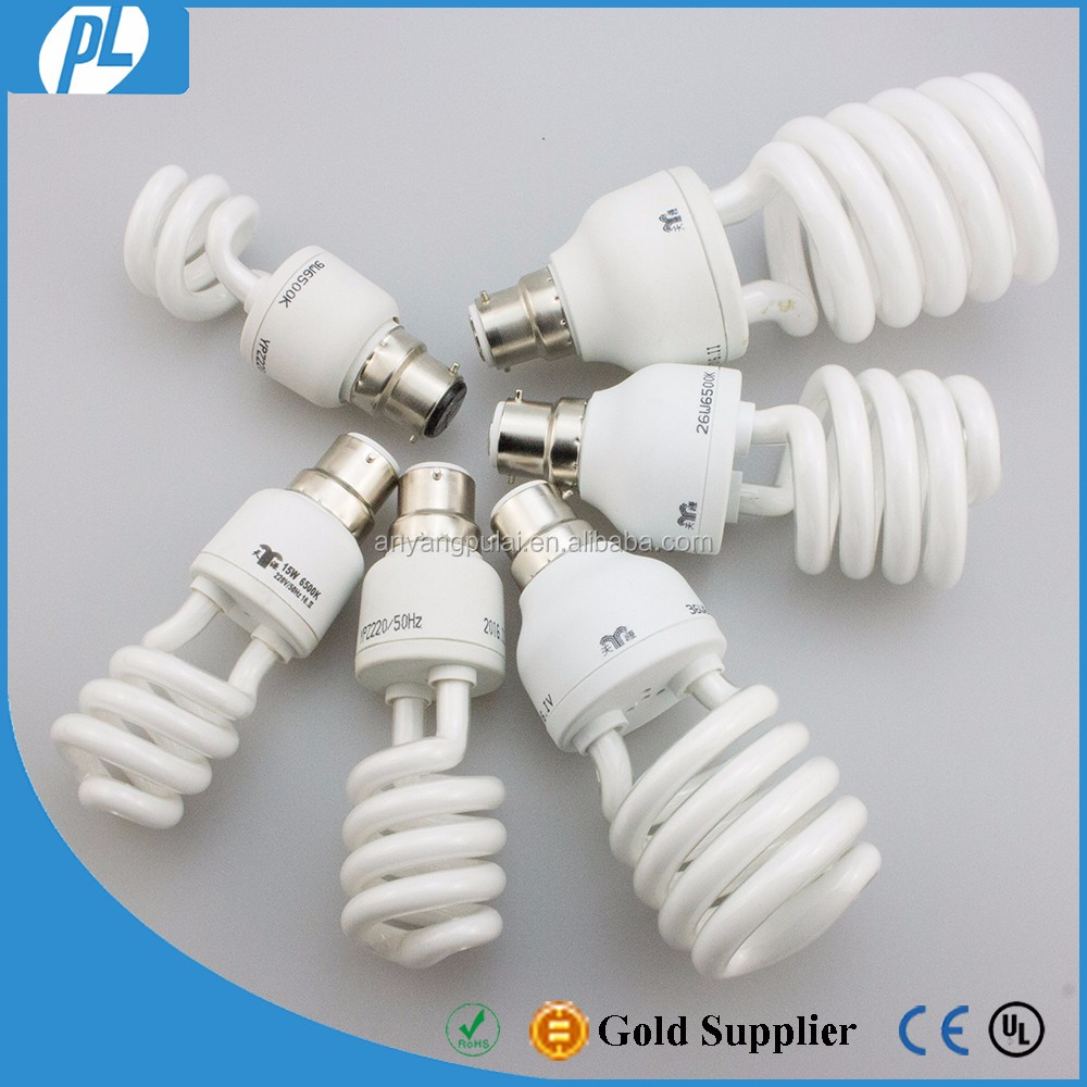 Wholesale B22 half spiral cfl light bulbs with price