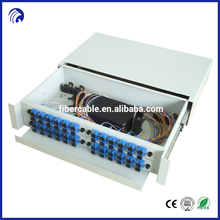 Supply factory price ODF 48 port fiber optic rack mount patch panel for 96 LC and 48 SC adapters with splice tray