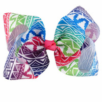 New design print hair accessories 7 inch large bow BH1169