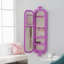 Latest furniture design for bedroom, wall mounted jewelry cabinet organizers with full mirror
