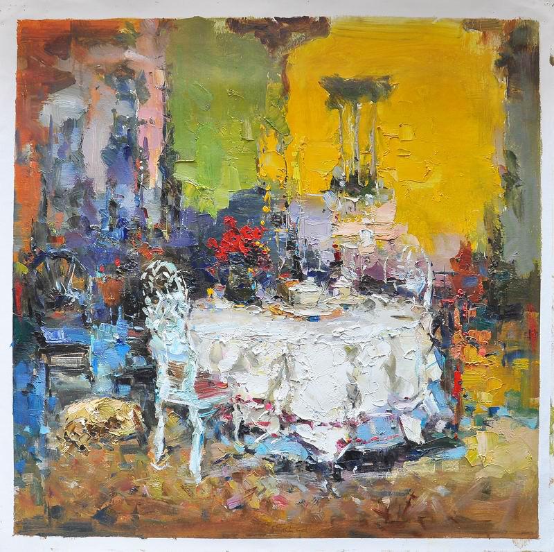 Oil texture impressionist art landscape house oil painting for Artworks landscape ltd