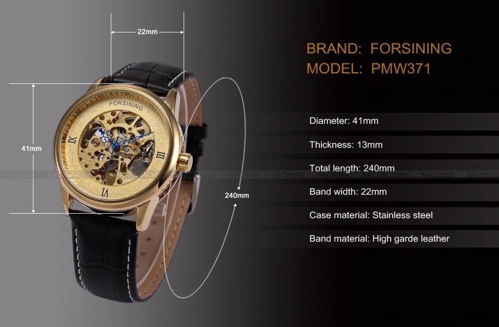 2016 Luxury Men's Skeleton Automatic Mechanical Leather Men Wrist watches