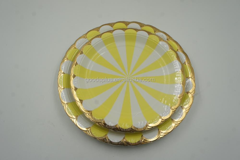 Custom Shape Hot Stamping Gold Foil Printed Paper Disposable Plates