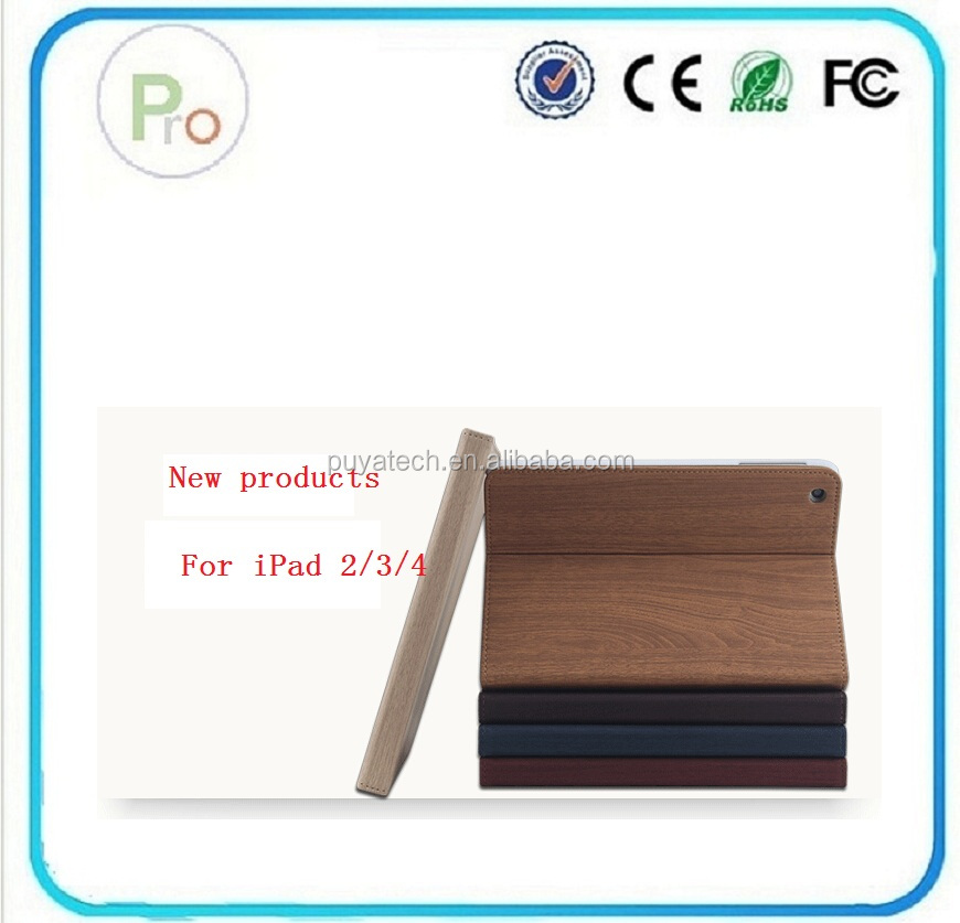 wonderful fold wood stripe case cove ,waterproof shockproof case for ipad PRO-IP01503