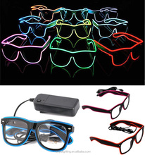 Christmas Item Party Gift LED Neon Glowing Light EL Wire Glasses for Nightclub Party Colorful EL Wire Neon Glasses