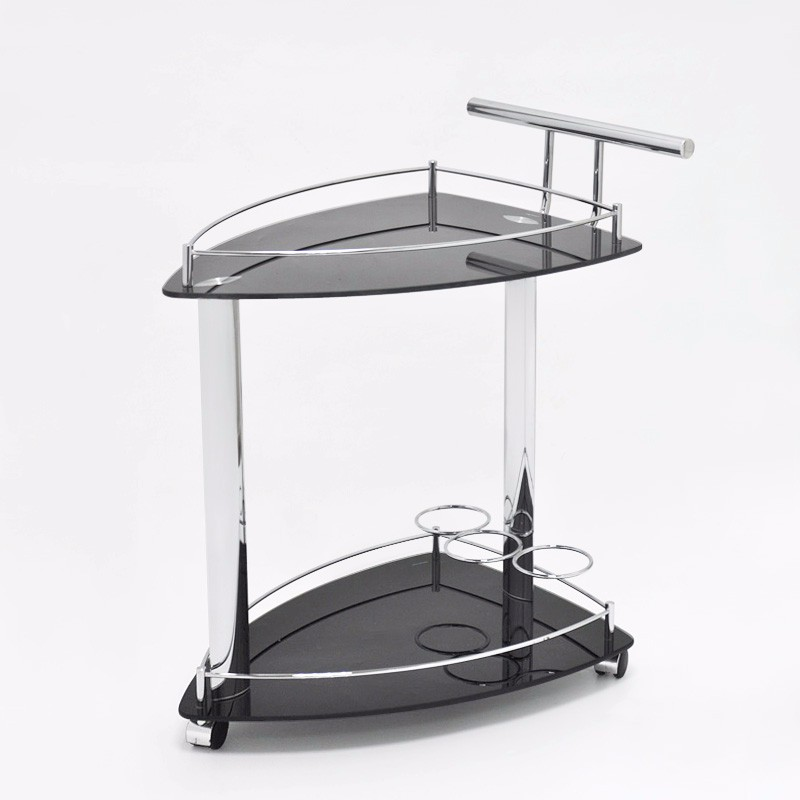 Elegant Looking 2 Tiered Black Glass Food Serving Trolley