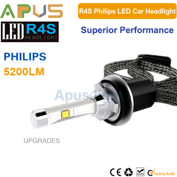 Upgrades R4S with Philips Luxeon MZ chip 45W 5200LM Fanless H7 car led kit