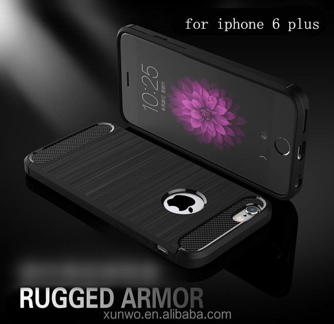 Brush Carbon Fiber Pattern TPU shock proof Mobile Phone Case Back Cover For iPhone 6 plus