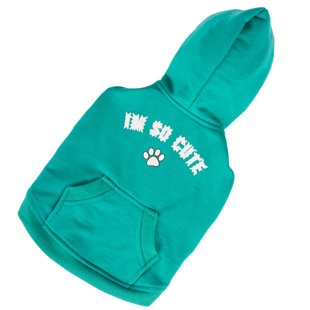 xxs china dog hoody green pet apparel with pocket for small male dogs