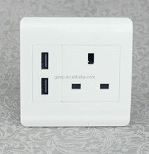 New Design High Quality Dual USB uk usb wall outlet