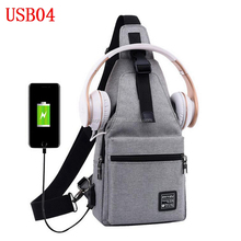 anti theft chest shoulder canvas backpack school bag with usb charger