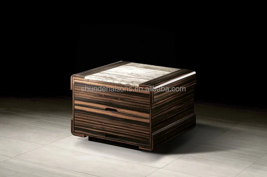 Square Shape Modern Style Hot sale Ebony Veneer Coffee Table Bed Side Table With Round Rim and Grey Travertine Stone Top